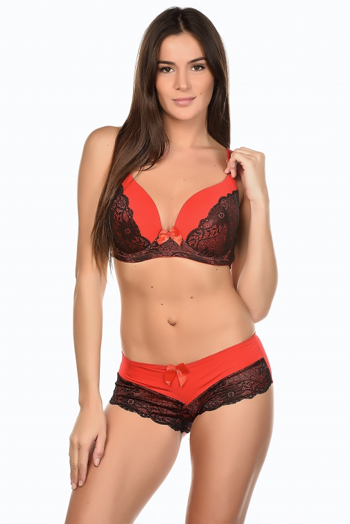 ensemble soutien gorge shorty inoo brio couleur rouge taille 90 d l mademoiselle. Black Bedroom Furniture Sets. Home Design Ideas